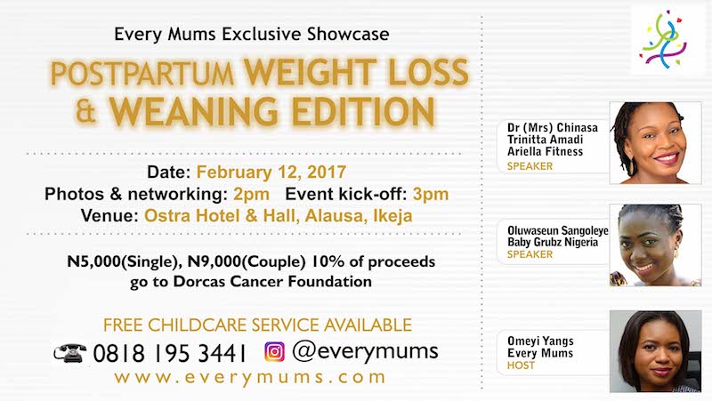 Every Mums Post-partum weight loss and weaning event