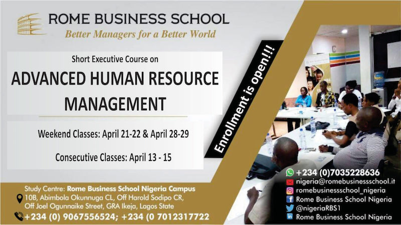 Advanced HR @Rome Business School in April 2018