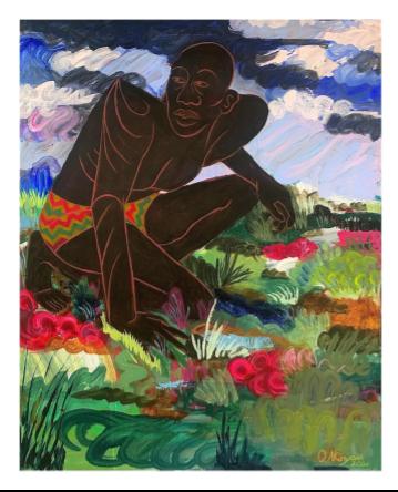 Oluwaseni Akinyemi's Timekeeper. Acrylic on canvas.