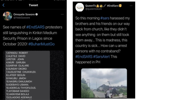 Tweeted Reports on ENDSARS protest